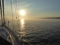 Sunset Above Fog Bank, Sailing to Grace Harbor from Chippewa Harbor, Isle Royale